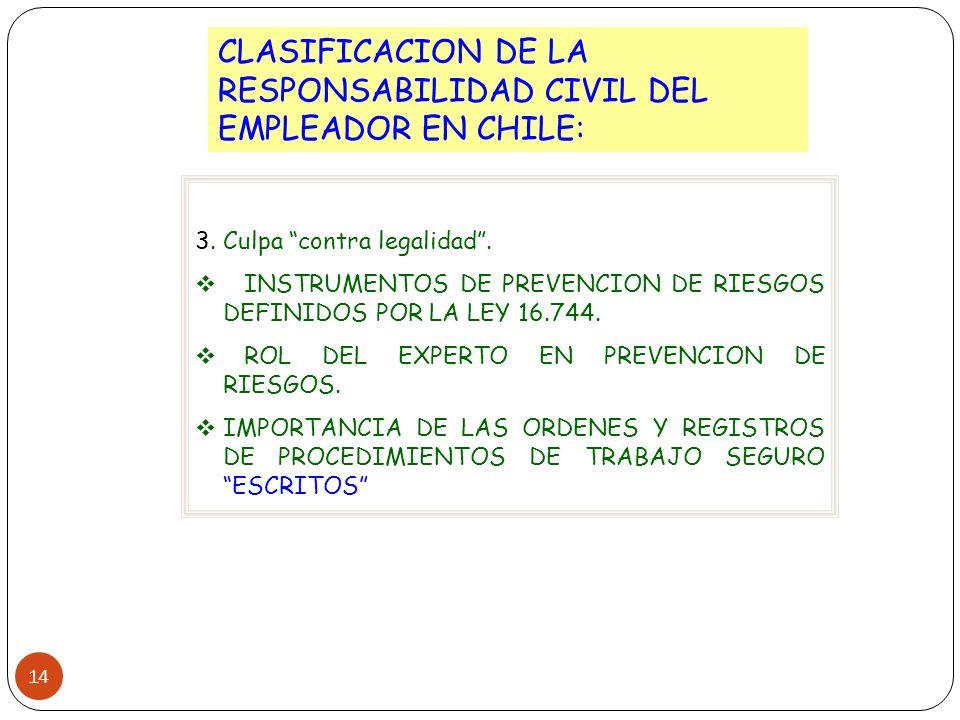 14 CLASIFICACION DE LA RESPONSABILIDAD CIVIL DEL EMPLEADOR EN CHILE: 3. Culpa contra legalidad. INSTRUMENTOS DE PREVENCION DE RIESGOS DEFINIDOS POR LA