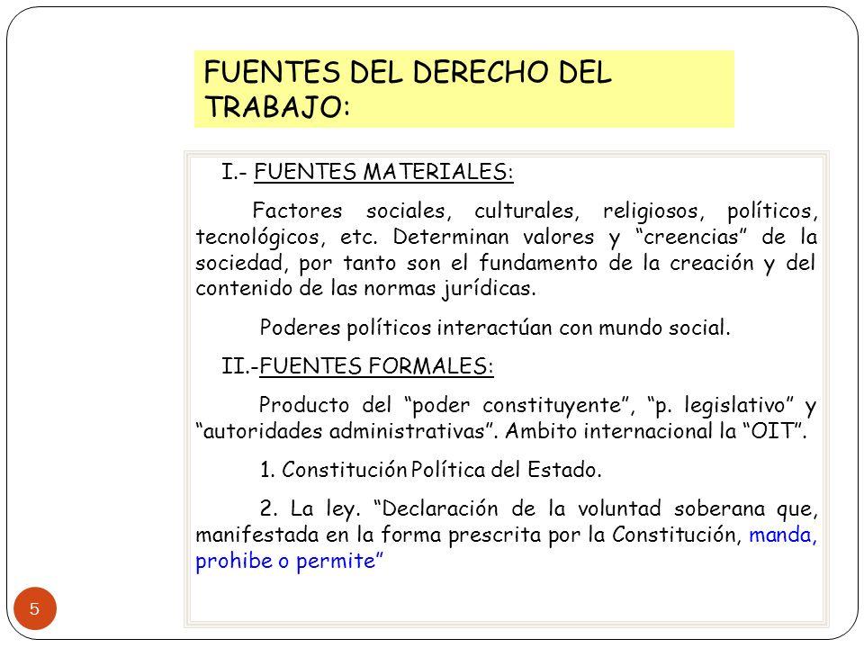 5 FUENTES DEL DERECHO DEL TRABAJO: I.- FUENTES MATERIALES: Factores sociales, culturales, religiosos, políticos, tecnológicos, etc. Determinan valores