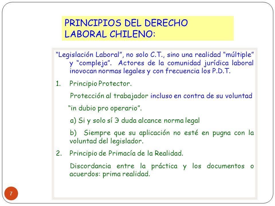 7 PRINCIPIOS DEL DERECHO LABORAL CHILENO: Legislación Laboral, no solo C.T., sino una realidad múltiple y compleja. Actores de la comunidad jurídica l