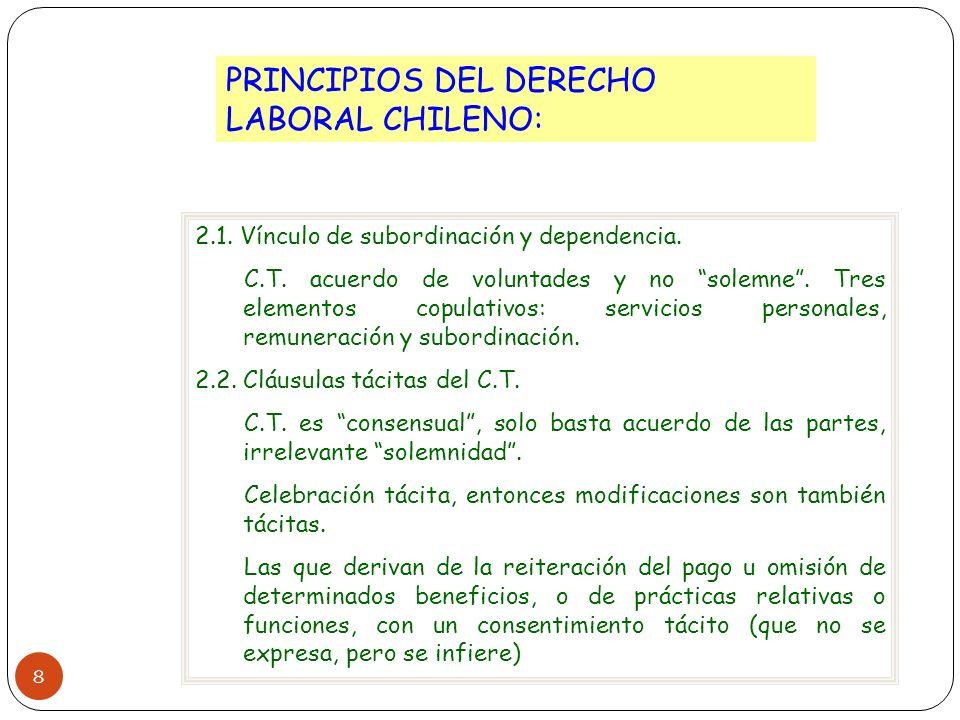 8 PRINCIPIOS DEL DERECHO LABORAL CHILENO: 2.1. Vínculo de subordinación y dependencia. C.T. acuerdo de voluntades y no solemne. Tres elementos copulat