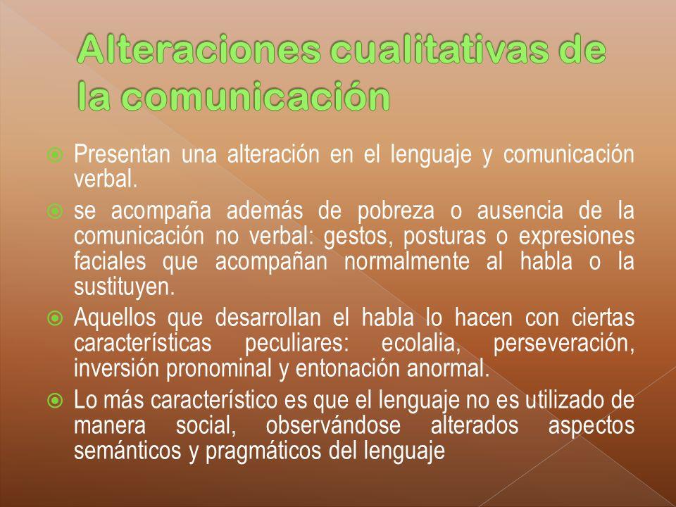 Presentan una alteración en el lenguaje y comunicación verbal. se acompaña además de pobreza o ausencia de la comunicación no verbal: gestos, posturas