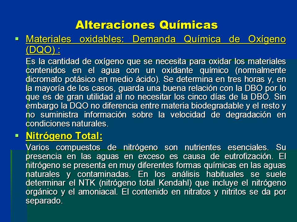 Alteraciones Químicas Materiales oxidables: Demanda Química de Oxígeno (DQO) : Materiales oxidables: Demanda Química de Oxígeno (DQO) : Es la cantidad