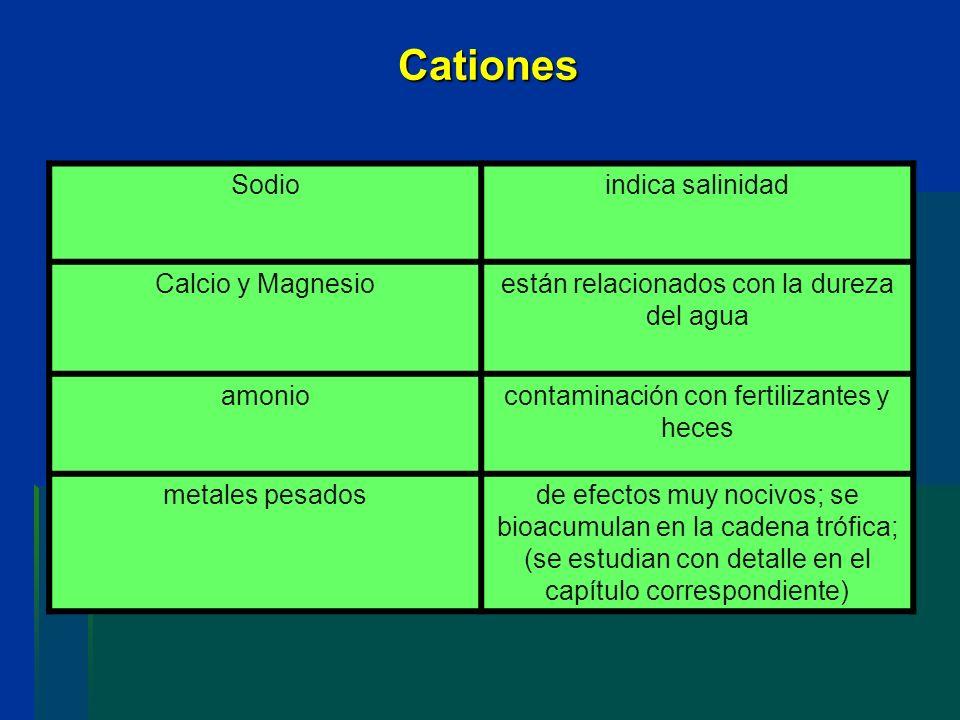 Cationes Sodioindica salinidad Calcio y Magnesioestán relacionados con la dureza del agua amoniocontaminación con fertilizantes y heces metales pesado