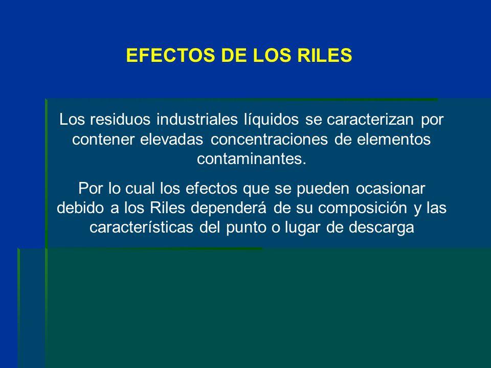 EFECTOS DE LOS RILES Los residuos industriales líquidos se caracterizan por contener elevadas concentraciones de elementos contaminantes. Por lo cual