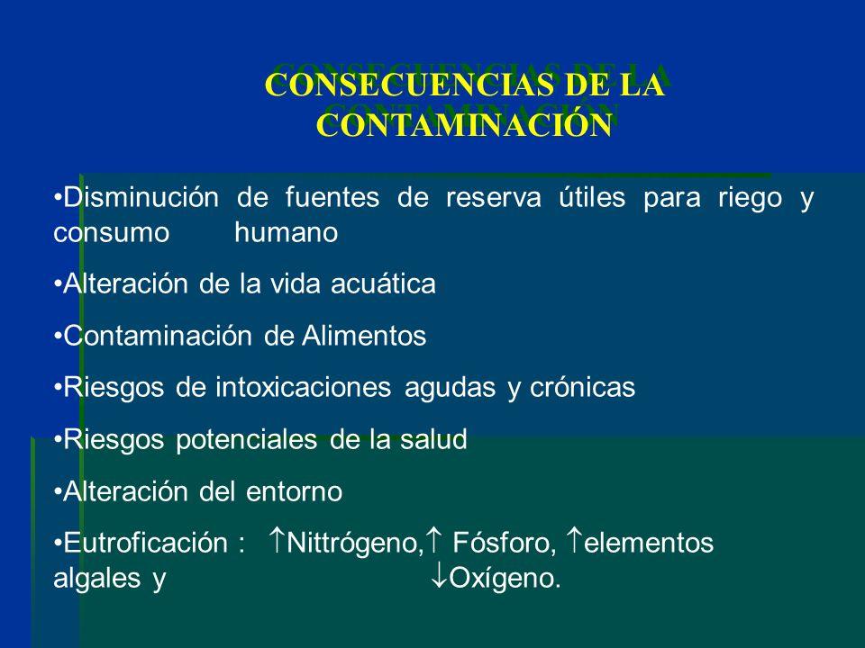 CONSECUENCIAS DE LA CONTAMINACIÓN Disminución de fuentes de reserva útiles para riego y consumo humano Alteración de la vida acuática Contaminación de