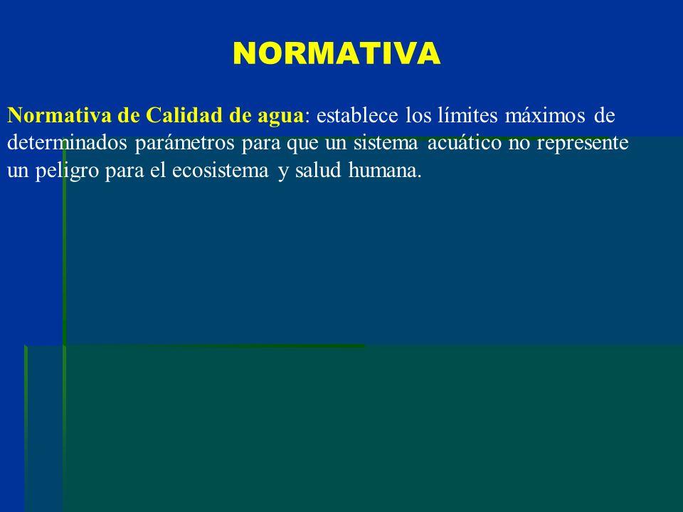 NORMATIVA Normativa de Calidad de agua: establece los límites máximos de determinados parámetros para que un sistema acuático no represente un peligro