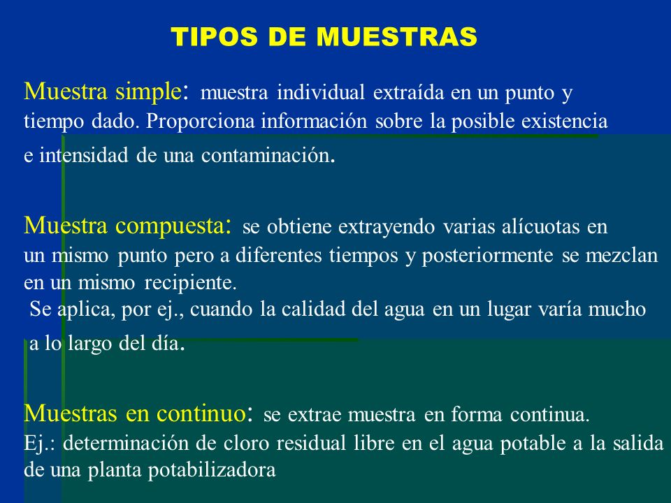 TIPOS DE MUESTRAS Muestra simple : muestra individual extraída en un punto y tiempo dado. Proporciona información sobre la posible existencia e intens