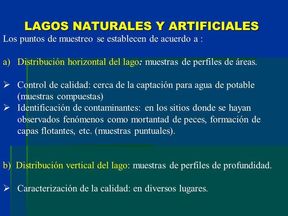 LAGOS NATURALES Y ARTIFICIALES Los puntos de muestreo se establecen de acuerdo a : a)Distribución horizontal del lago: muestras de perfiles de áreas.