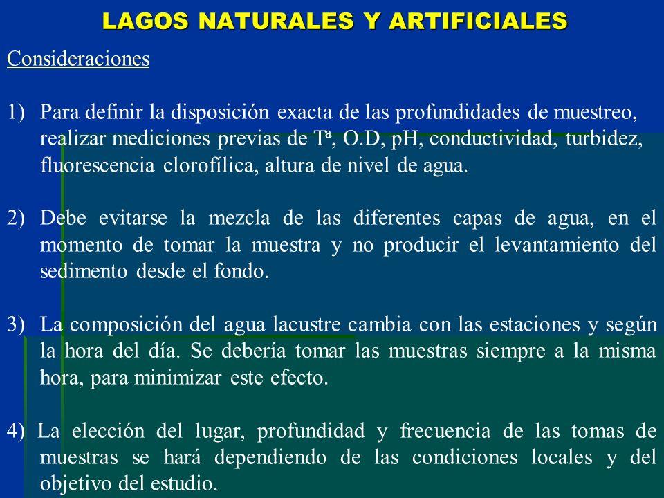LAGOS NATURALES Y ARTIFICIALES Consideraciones 1)Para definir la disposición exacta de las profundidades de muestreo, realizar mediciones previas de T