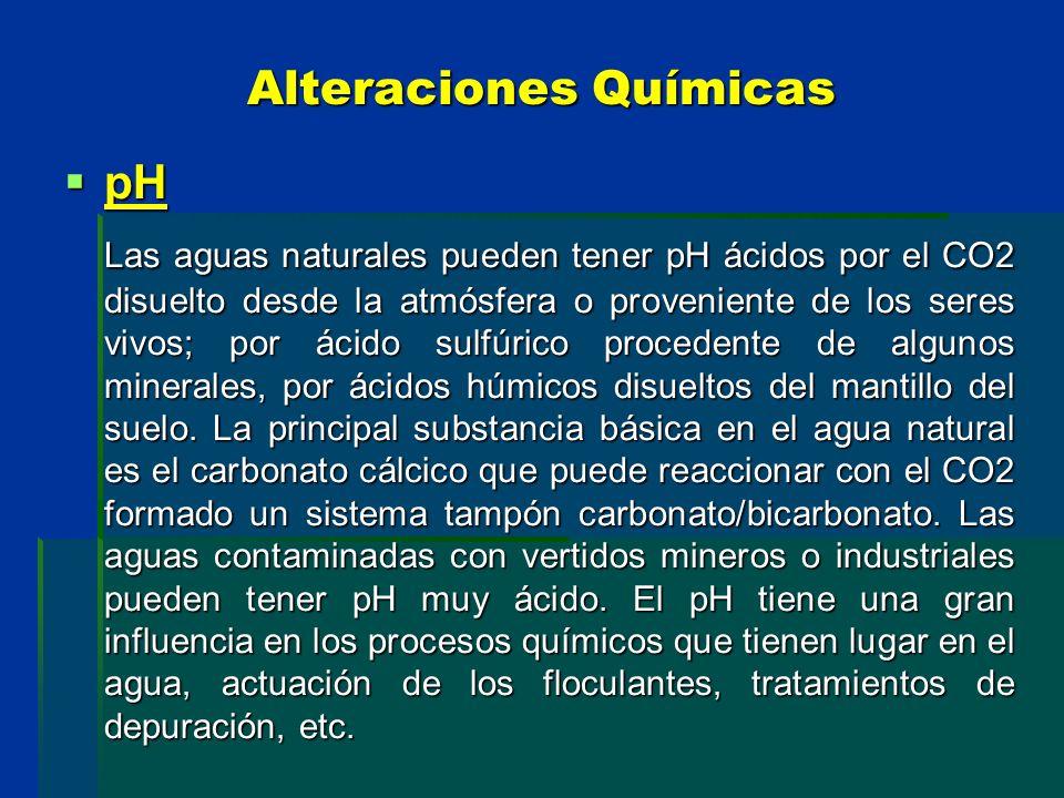 Alteraciones Químicas pH pH Las aguas naturales pueden tener pH ácidos por el CO2 disuelto desde la atmósfera o proveniente de los seres vivos; por ác
