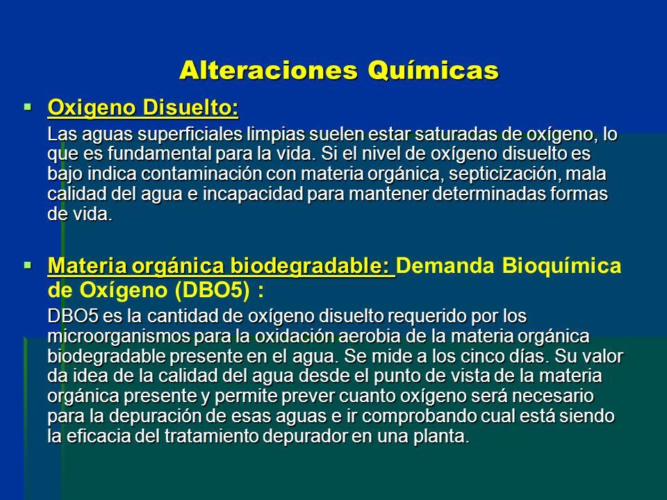 Alteraciones Químicas Oxigeno Disuelto: Oxigeno Disuelto: Las aguas superficiales limpias suelen estar saturadas de oxígeno, lo que es fundamental par