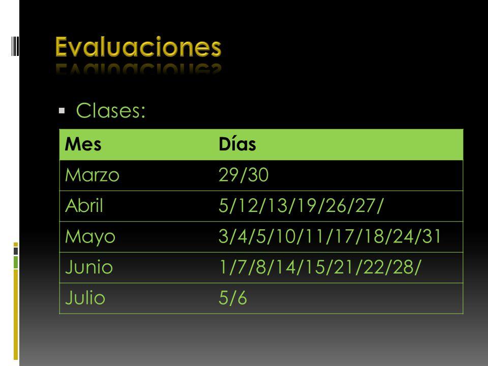 Clases: MesDías Marzo29/30 Abril5/12/13/19/26/27/ Mayo3/4/5/10/11/17/18/24/31 Junio1/7/8/14/15/21/22/28/ Julio5/6