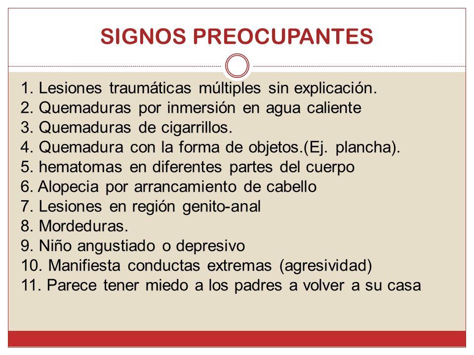 SIGNOS PREOCUPANTES 1. Lesiones traumáticas múltiples sin explicación. 2. Quemaduras por inmersión en agua caliente 3. Quemaduras de cigarrillos. 4. Q
