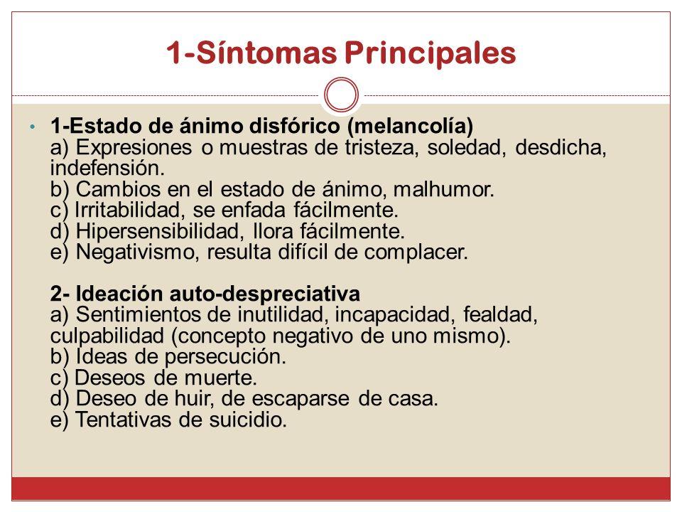 1-Síntomas Principales 1-Estado de ánimo disfórico (melancolía) a) Expresiones o muestras de tristeza, soledad, desdicha, indefensión. b) Cambios en e