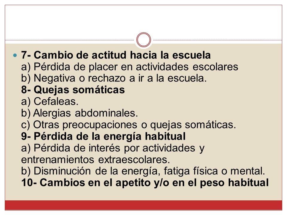 7- Cambio de actitud hacia la escuela a) Pérdida de placer en actividades escolares b) Negativa o rechazo a ir a la escuela. 8- Quejas somáticas a) Ce