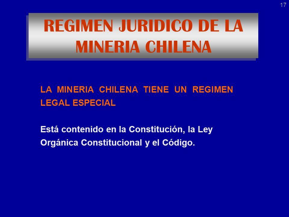LA MINERIA CHILENA TIENE UN REGIMEN LEGAL ESPECIAL Está contenido en la Constitución, la Ley Orgánica Constitucional y el Código.