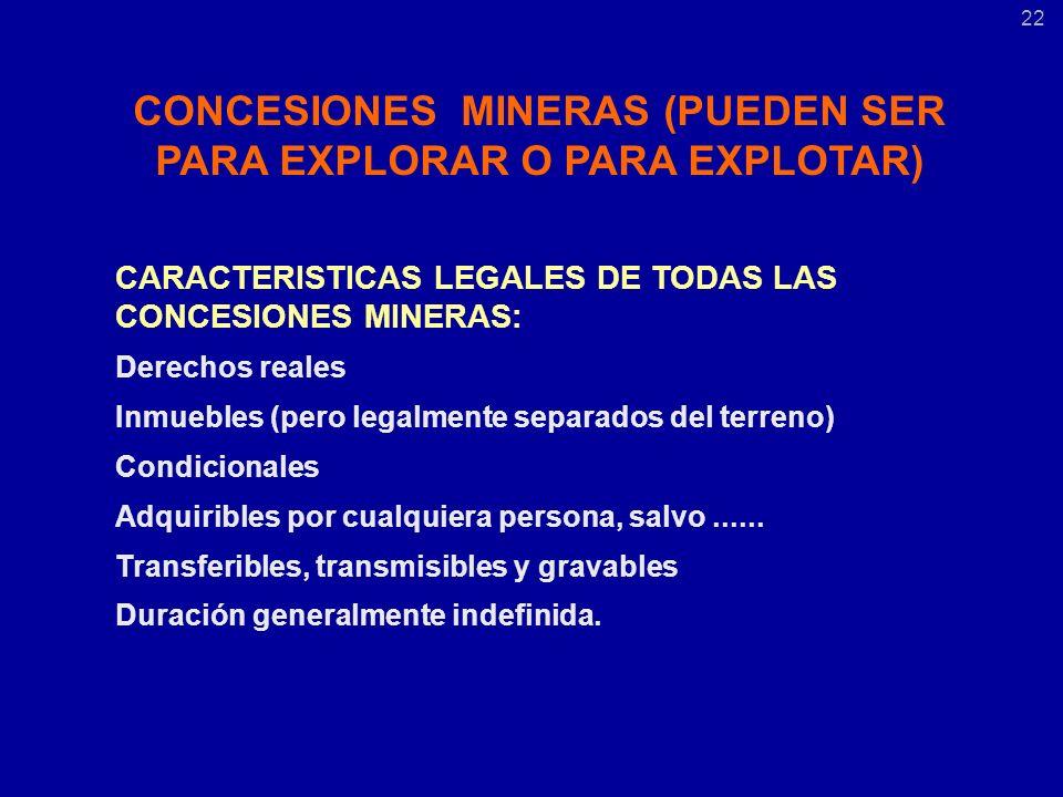 CONCESIONES MINERAS (PUEDEN SER PARA EXPLORAR O PARA EXPLOTAR) CARACTERISTICAS LEGALES DE TODAS LAS CONCESIONES MINERAS: Derechos reales Inmuebles (pero legalmente separados del terreno) Condicionales Adquiribles por cualquiera persona, salvo......