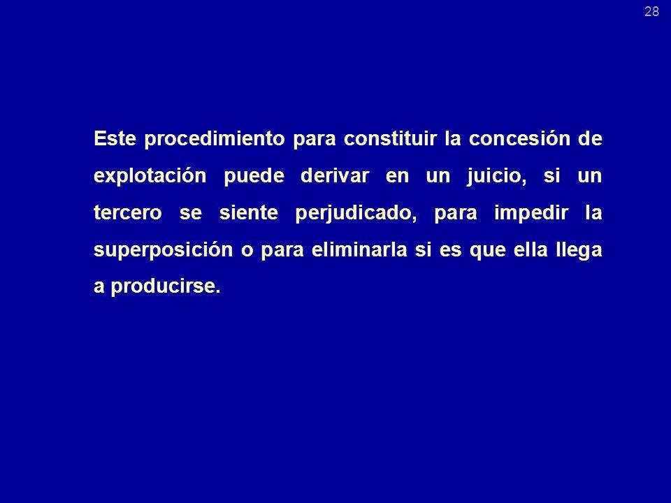Este procedimiento para constituir la concesión de explotación puede derivar en un juicio, si un tercero se siente perjudicado, para impedir la superposición o para eliminarla si es que ella llega a producirse.