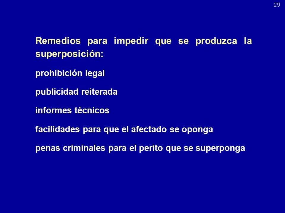 Remedios para impedir que se produzca la superposición: prohibición legal publicidad reiterada informes técnicos facilidades para que el afectado se oponga penas criminales para el perito que se superponga 29