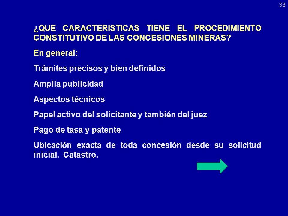 ¿QUE CARACTERISTICAS TIENE EL PROCEDIMIENTO CONSTITUTIVO DE LAS CONCESIONES MINERAS.