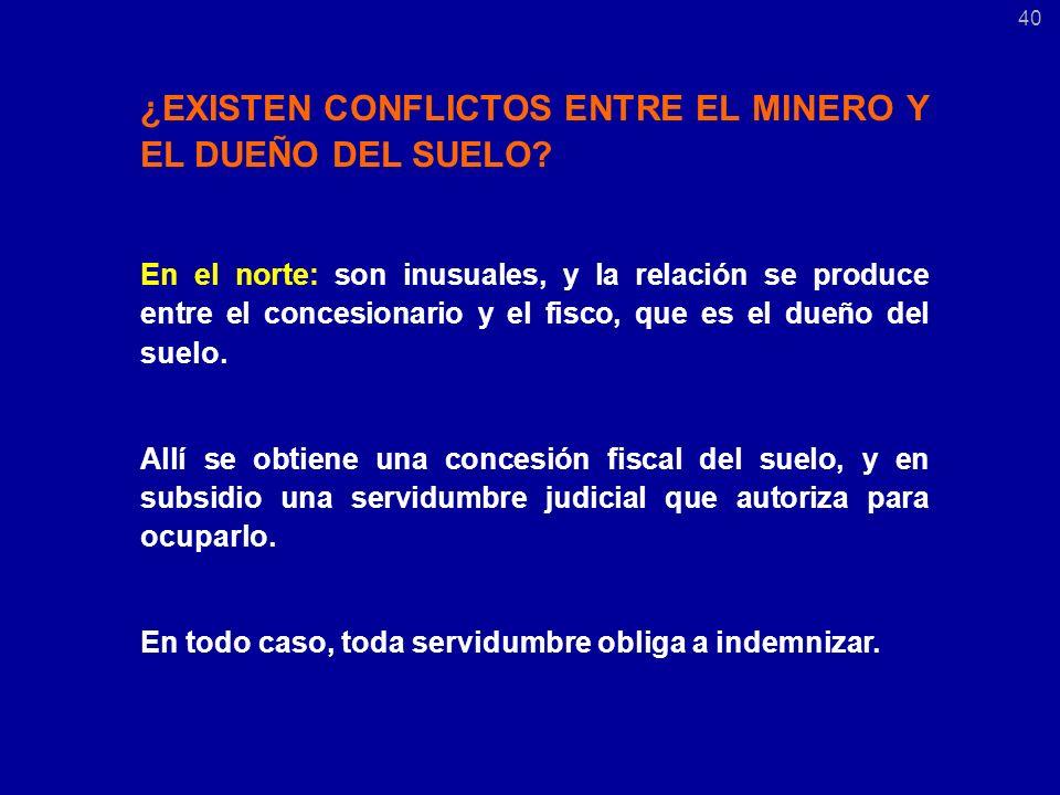 ¿EXISTEN CONFLICTOS ENTRE EL MINERO Y EL DUEÑO DEL SUELO.