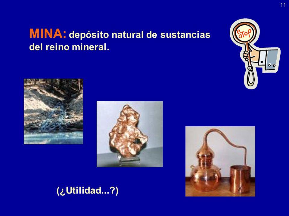 MINA: depósito natural de sustancias del reino mineral. (¿Utilidad...?) 11