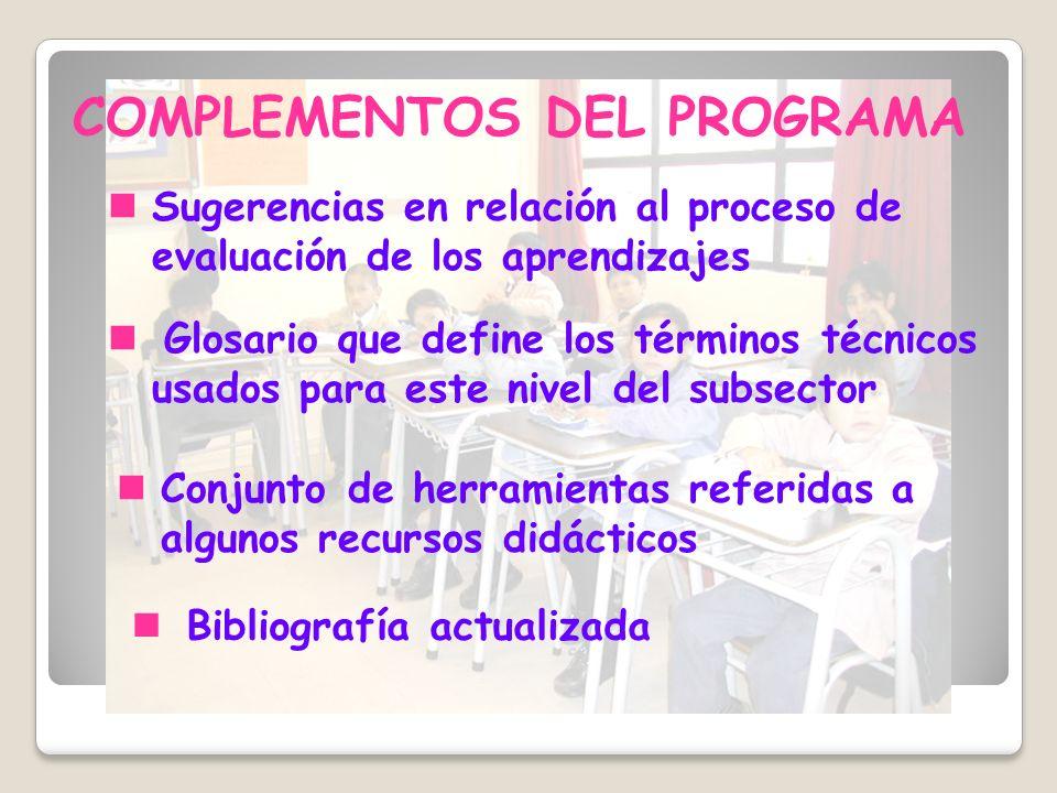 Bibliografía actualizada COMPLEMENTOS DEL PROGRAMA Sugerencias en relación al proceso de evaluación de los aprendizajes Glosario que define los términ