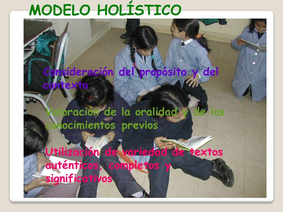 MODELO HOLÍSTICO Consideración del propósito y del contexto Valoración de la oralidad y de los conocimientos previos Utilización de variedad de textos