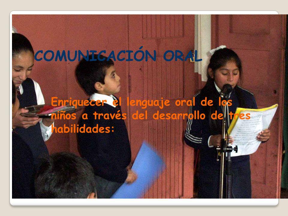 COMUNICACIÓN ORAL Enriquecer el lenguaje oral de los niños a través del desarrollo de tres habilidades: