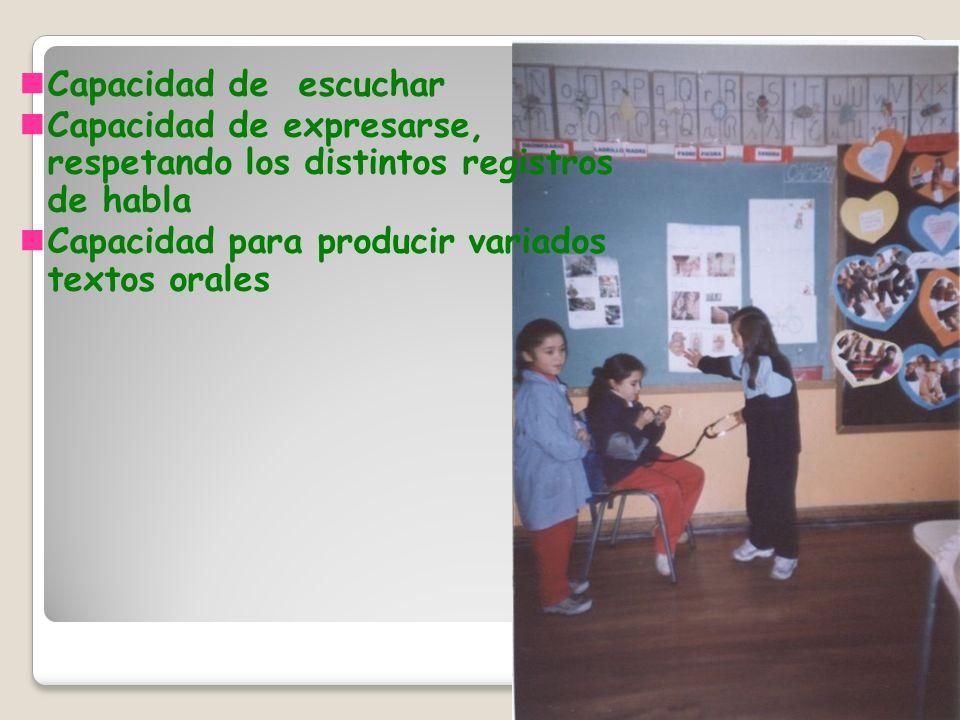 Capacidad de escuchar Capacidad de expresarse, respetando los distintos registros de habla Capacidad para producir variados textos orales