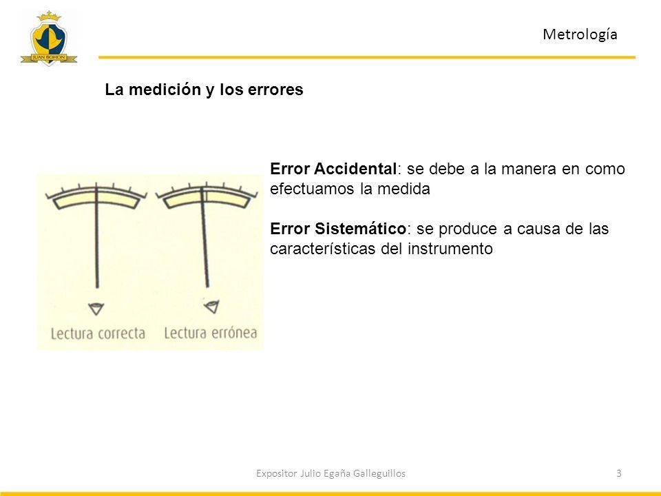 3Expositor Julio Egaña Galleguillos Metrología La medición y los errores Error Accidental: se debe a la manera en como efectuamos la medida Error Sist