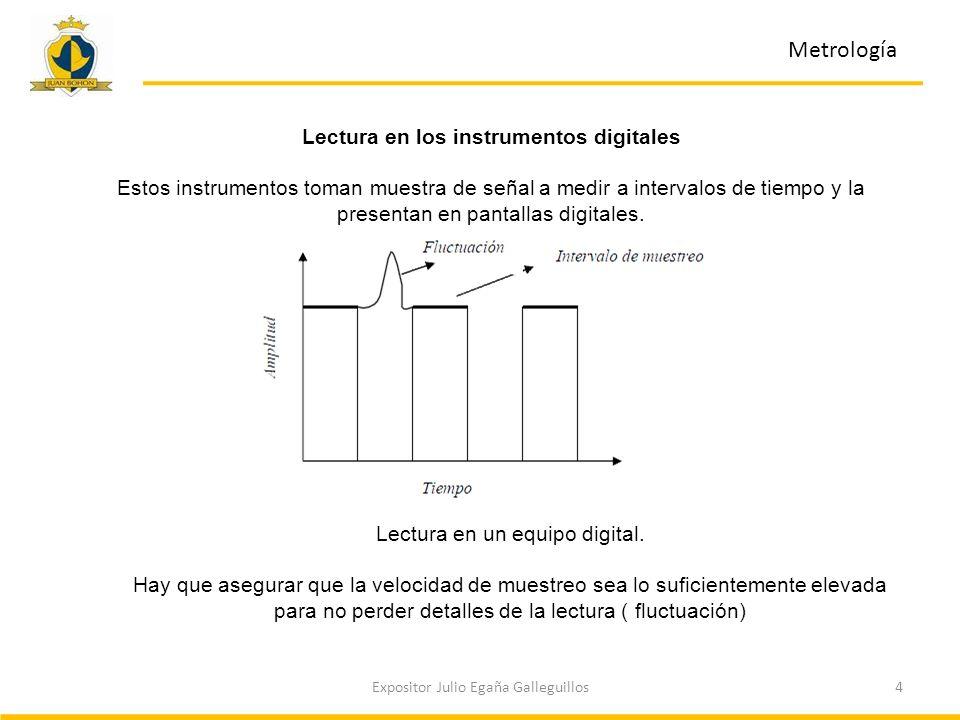 5Expositor Julio Egaña Galleguillos Metrología Lectura en los instrumentos análogos Los instrumentos análogos suelen emplear un indicador mecánico, el cual es una aguja sobre una escala.