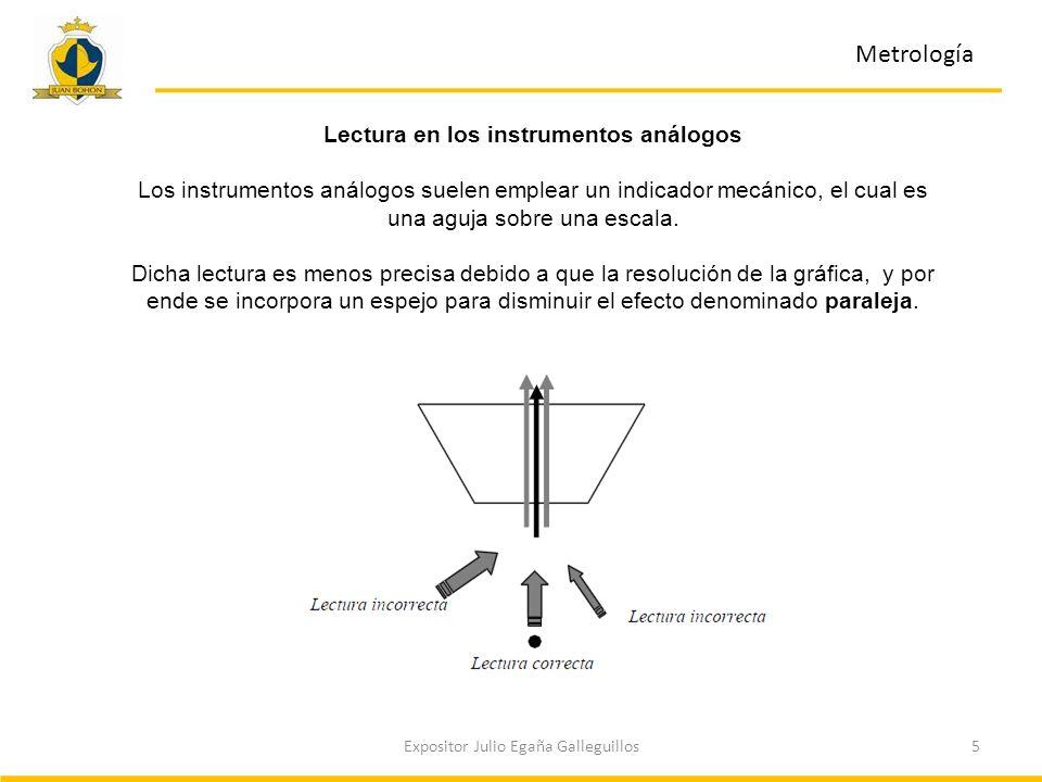 5Expositor Julio Egaña Galleguillos Metrología Lectura en los instrumentos análogos Los instrumentos análogos suelen emplear un indicador mecánico, el