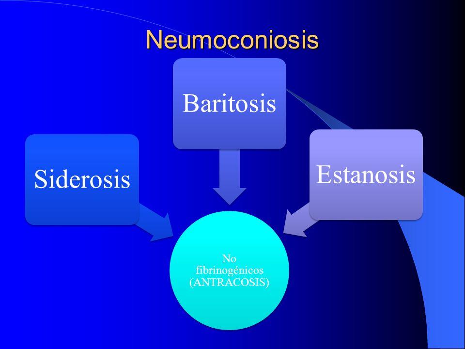Neumoconiosis No fibrinogénicos (ANTRACOSIS) Siderosis BaritosisEstanosis