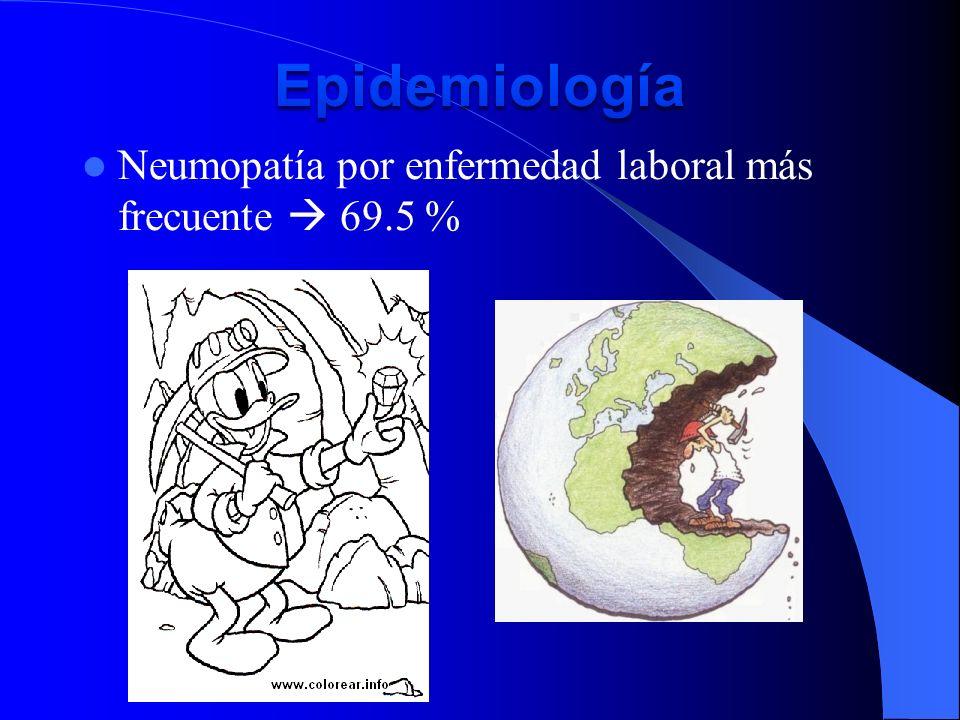 Neumopatía por enfermedad laboral más frecuente 69.5 %