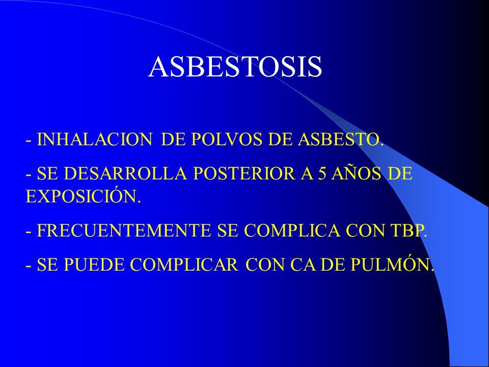 Antracosis - Primera neumoconiosis descrita.-Producida por inhalación de polvos de carbón mineral.