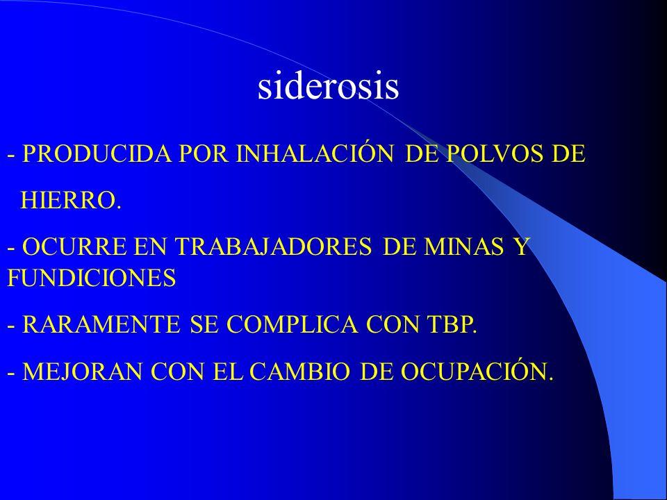 siderosis - PRODUCIDA POR INHALACIÓN DE POLVOS DE HIERRO. - OCURRE EN TRABAJADORES DE MINAS Y FUNDICIONES - RARAMENTE SE COMPLICA CON TBP. - MEJORAN C