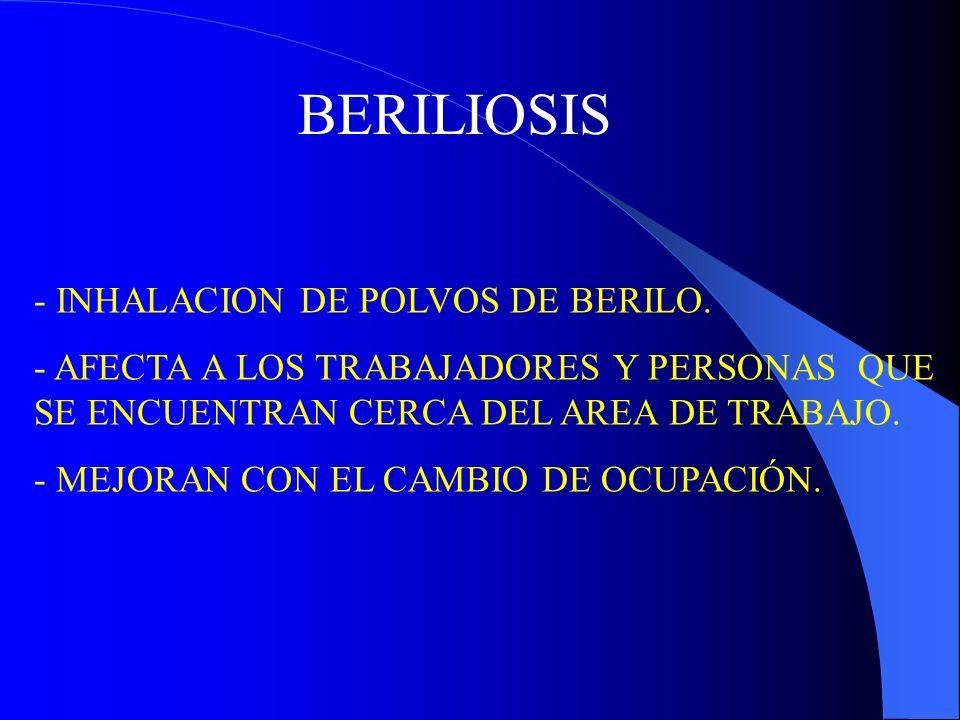 BERILIOSIS - INHALACION DE POLVOS DE BERILO. - AFECTA A LOS TRABAJADORES Y PERSONAS QUE SE ENCUENTRAN CERCA DEL AREA DE TRABAJO. - MEJORAN CON EL CAMB