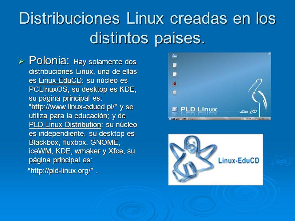 Distribuciones Linux creadas en los distintos paises. Polonia: Hay solamente dos distribuciones Linux, una de ellas es Linux-EduCD: su núcleo es PCLIn