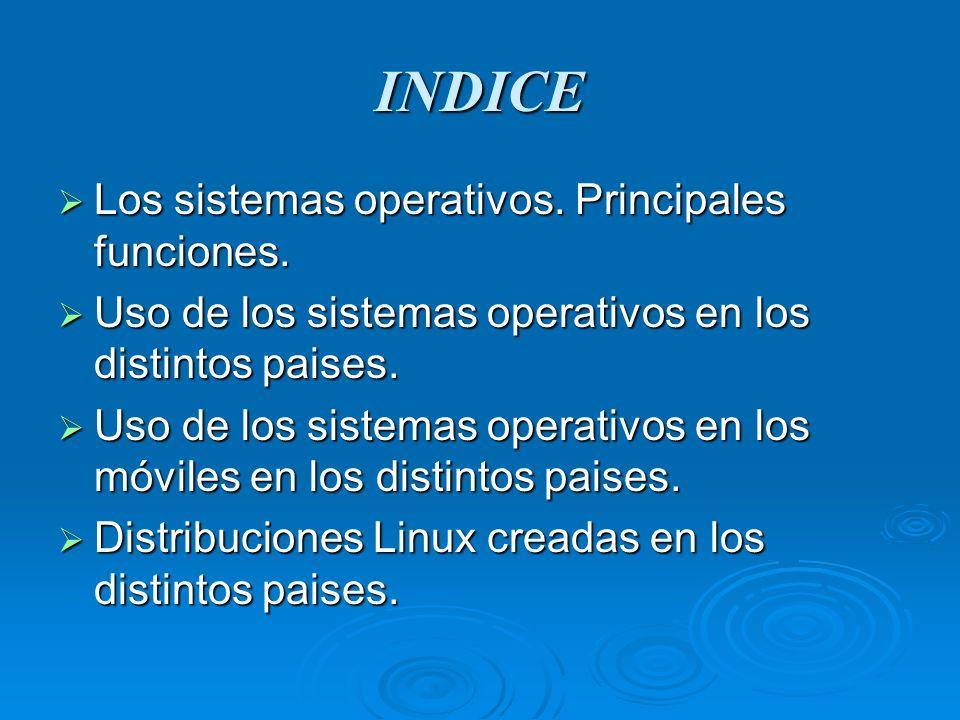 INDICE Los sistemas operativos. Principales funciones. Los sistemas operativos. Principales funciones. Uso de los sistemas operativos en los distintos