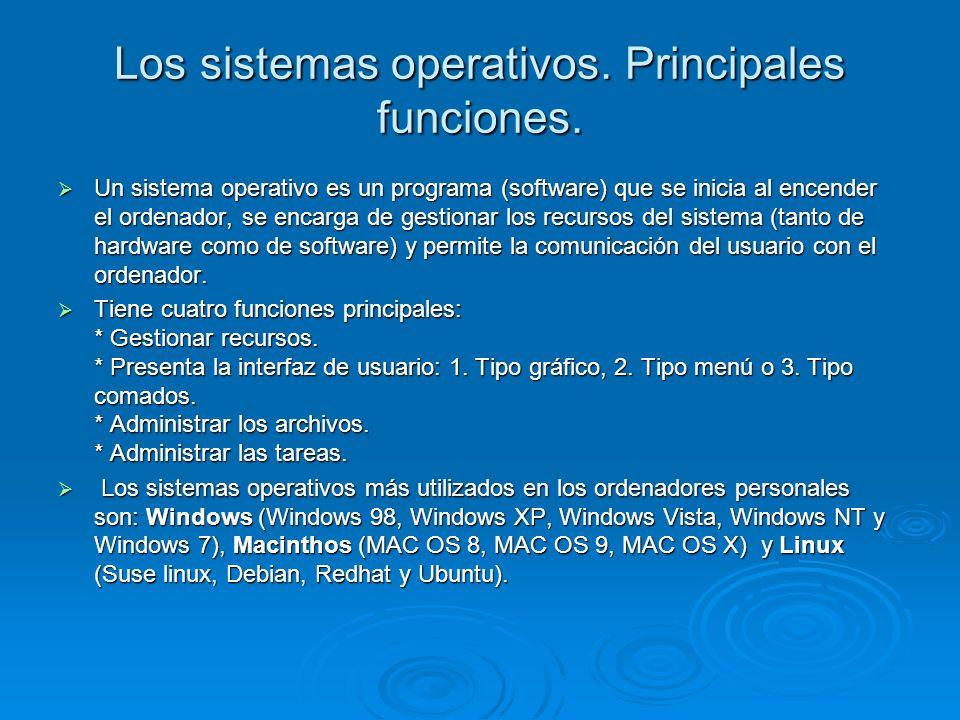 Los sistemas operativos. Principales funciones. Un sistema operativo es un programa (software) que se inicia al encender el ordenador, se encarga de g
