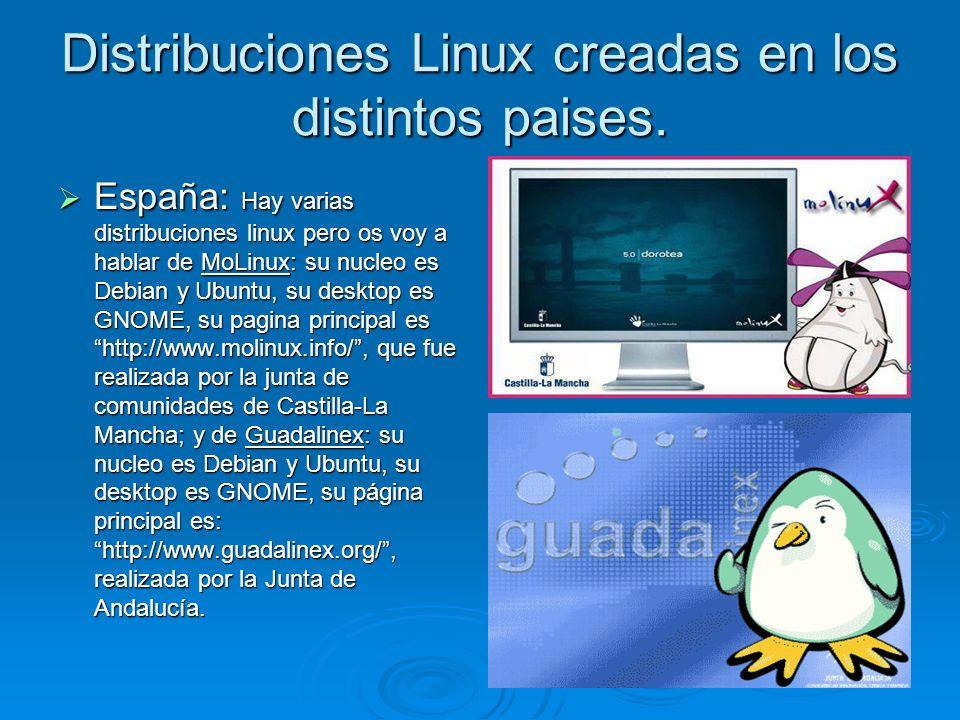 Distribuciones Linux creadas en los distintos paises. España: Hay varias distribuciones linux pero os voy a hablar de MoLinux: su nucleo es Debian y U