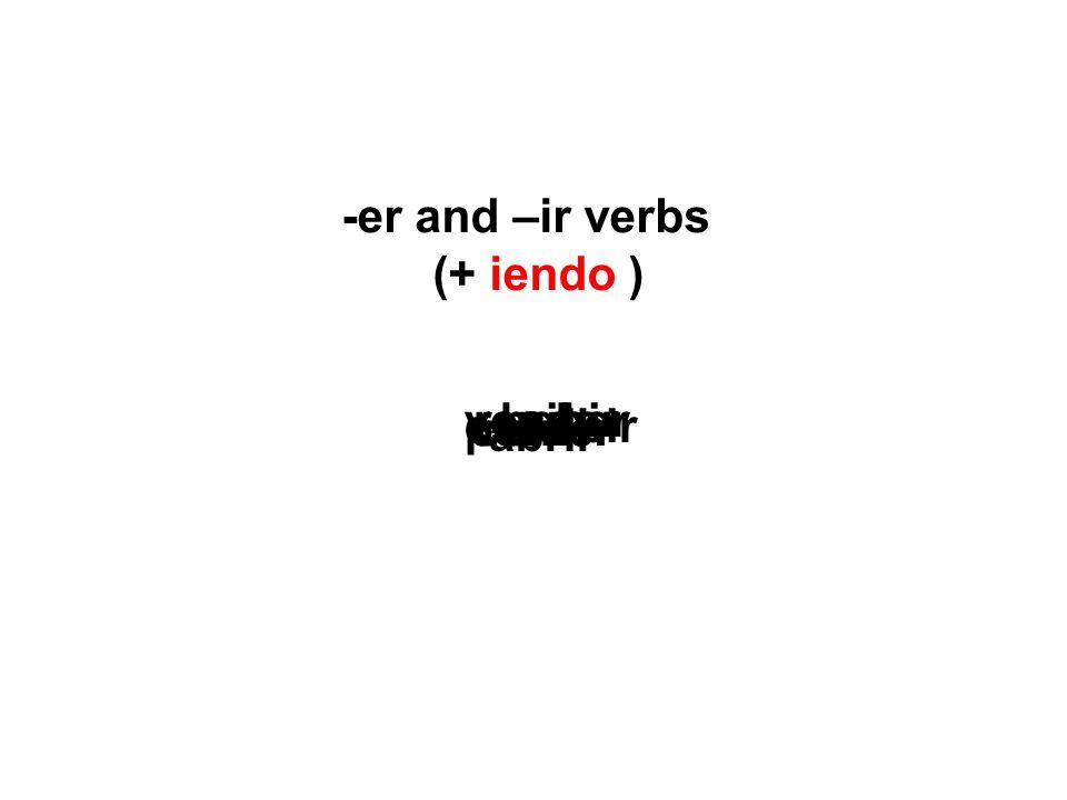 -er and –ir verbs (+ iendo ) corrercomer bebervender vivir abrir escribir recibir perder