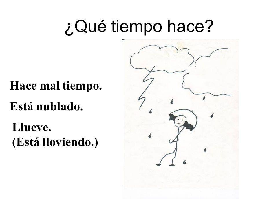 ¿Qué tiempo hace? Hace mal tiempo. Llueve. (Está lloviendo.) Está nublado.