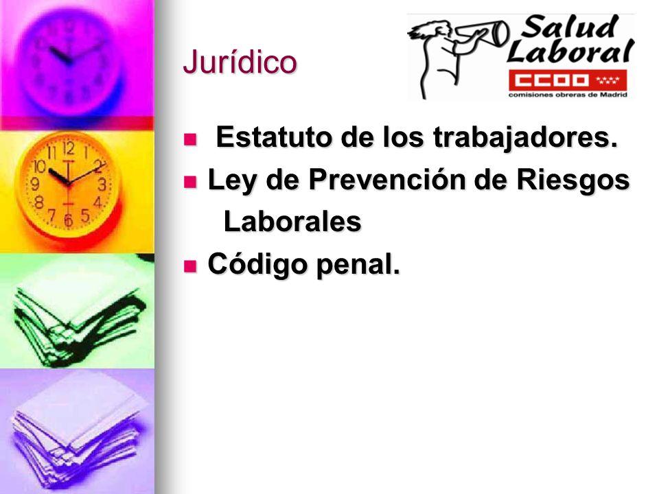 Jurídico Estatuto de los trabajadores. Estatuto de los trabajadores. Ley de Prevención de Riesgos Ley de Prevención de Riesgos Laborales Laborales Cód