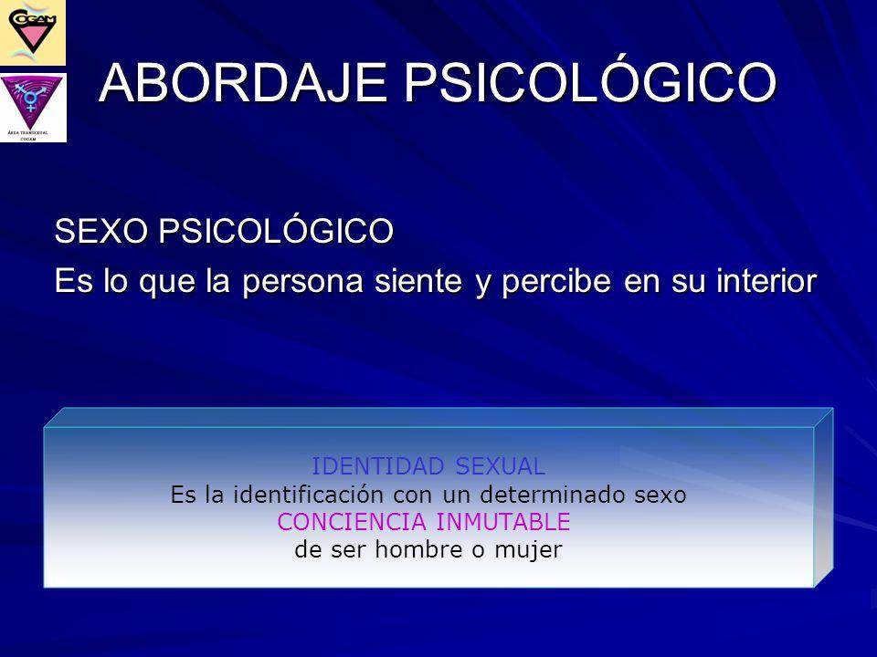 ABORDAJE PSICOLÓGICO SEXO PSICOLÓGICO Es lo que la persona siente y percibe en su interior