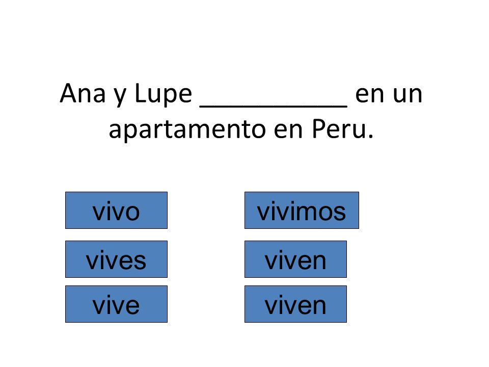 Ana y Lupe __________ en un apartamento en Peru. vivo vives vive vivimos viven