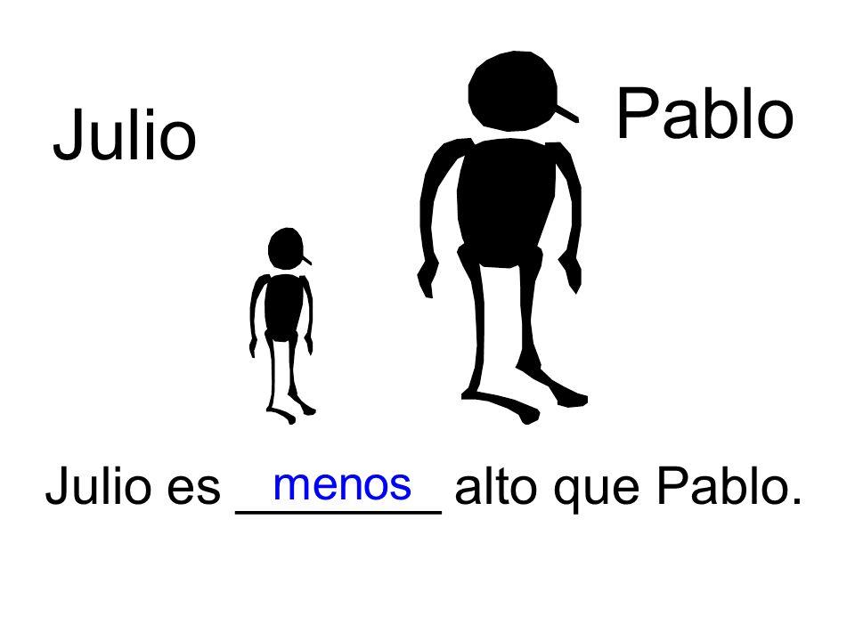 Julio Pablo Julio es _______ alto que Pablo. menos