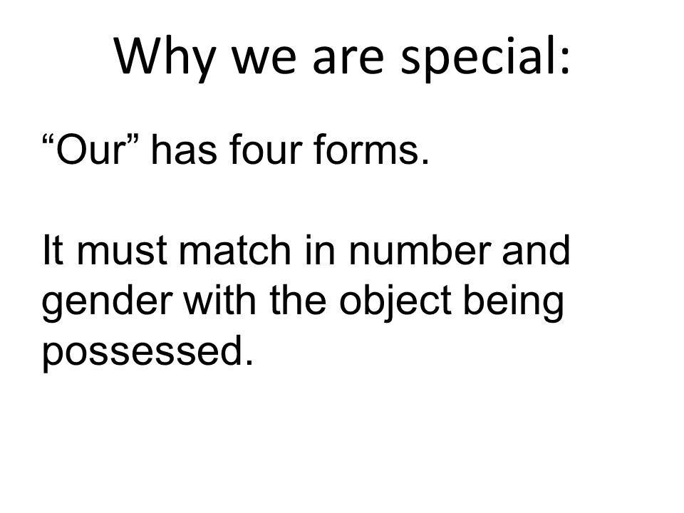 Why we are special: Our has four forms. It must match in number and gender with the object being possessed.
