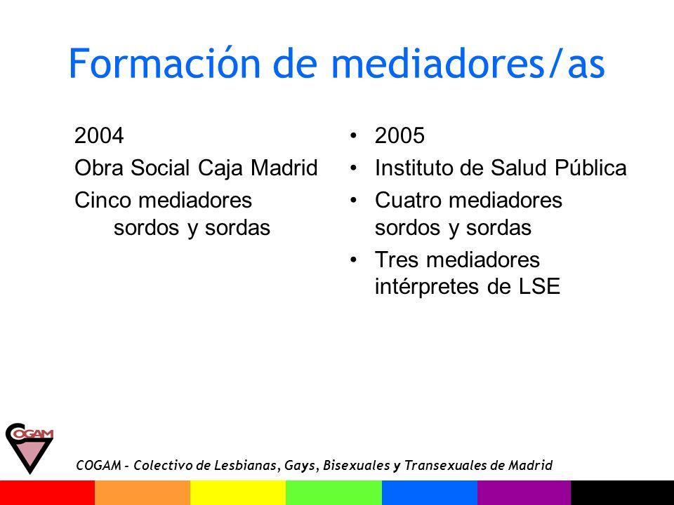 COGAM - Colectivo de Lesbianas, Gays, Bisexuales y Transexuales de Madrid Formación de mediadores/as 2004 Obra Social Caja Madrid Cinco mediadores sor
